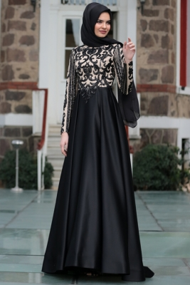a28017ebf6944 Trend Siyah Tesettür Abiye Modelleri. E tesettür abiye elbise modelleri